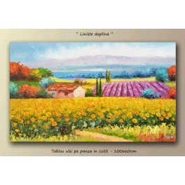 Silence - sunflower landscape painting 100x60cm.