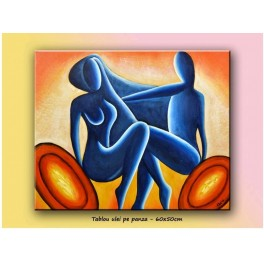 Lovers - modern painting 60x50cm