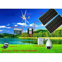 IP Dome camera with solar panel and wind turbine