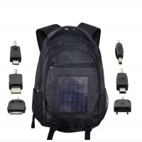 Backpack with solar panel charger