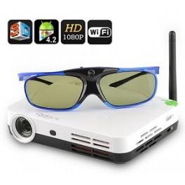 Videoproiector 3D wireless cu ochelari 3D