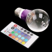 Bec decorativ rotund LED 16 culori cu telecomanda