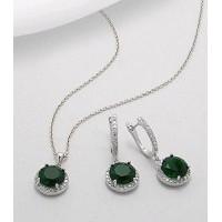 Set din argint cu aspect de aur alb cu zirconia verde: cercei si pandantiv