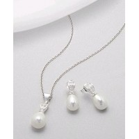 Set cercei si pandantiv din argint cu perle albe si cubic zirconia
