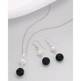 Set: cercei si pandantiv din argint cu perla alba de cultura si bila cu cristal negru