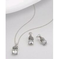 Set din argint cu marcasite si zirconia transparent: cercei si pandantiv