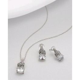 Set din argint cu zirconia transparent: cercei si pandantiv