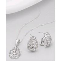 Set din argint: cercei cu inchizatoare omega si pandantiv