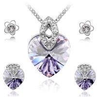 Set bijuterii cu cristale Swarovski Love Heart