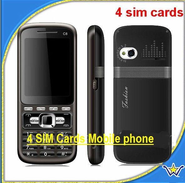Telefon C8 cu 4 SIM-uri radio si TV